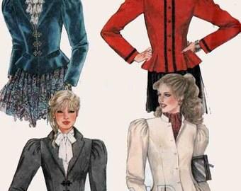 Vintage 80s Cropped Bomber Jacket Sewing Pattern w/ Peplum McCalls 7828 Womens 1980s Sewing Pattern Size 12 B34 UNCUT