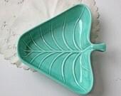 vintage turquoise leaf ceramic dish