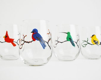The Four Seasons with Birds Stemless Wine Glasses - Red Cardinal, Green Hummingbird, Bluebird, Golden Finch - Set of 4 Stemless Glasses