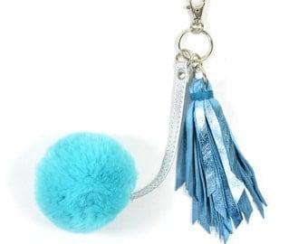 Handmade Metallic Blue Leather Pompom Keychain SC16