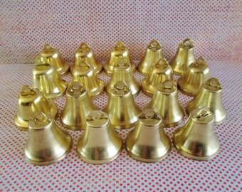 19 Little Gold Vintage Metal Bells