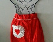 Sale - Vintage Red Half Apron with Lacy Heart Pocket Valentine's Day Ricrac