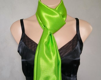 Lime Green Satin Scarf (reversible)