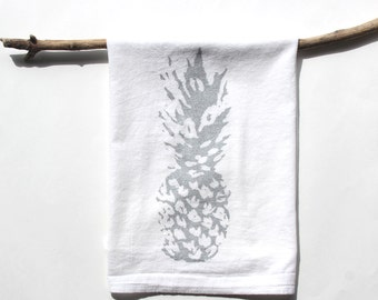 White and Silver Pineapple Dish Towels / Pineapple Tea Towels / Beach Cottage Decor / Hostess Gift