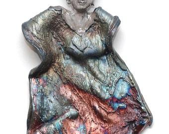 Copper Silver Blue Angel Kwan Yin Kannon Goddess Wall Hanging Sculpture Raku Ceramics