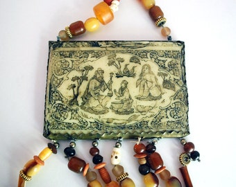 Middle Eastern Necklace, Persian Etched Bone, Bone Bead Necklace, Biblical Scene, Amulet Statement Necklace, Brass Beads, Boho Wall Hanging