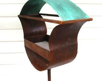 Sculptural Steel & Copper Bird Feeder No. 336 - Freestanding unique modern birdfeeder