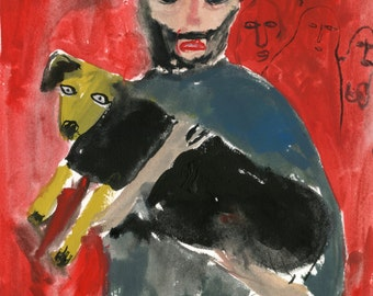 Original portrait painting illustration - Man And Dog From Your Nightmares