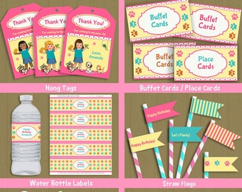 Pet Shop Full Party Collection / INSTANT DOWNLOAD puppy kitten birthday party set / pet party #P-39-fullparty / you can edit text from home