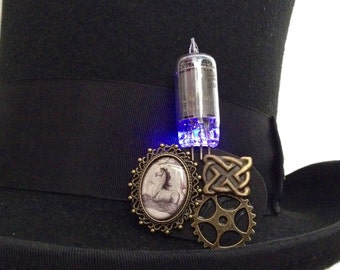 Purple horse jewelry - steampunk vacuum tube brooch - glow in the dark LED brooch - light up jewelry pin - celtic knot jewelry - purple LED