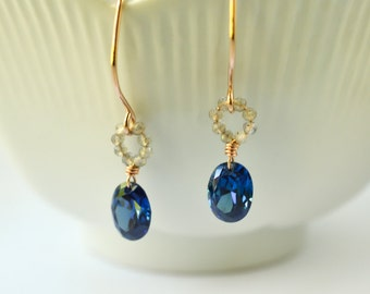 Blue oval cubic zirconia earrings, blue stone earrings, rose gold earrings, labradorite circle earrings made in Hawaii Kahili Creations