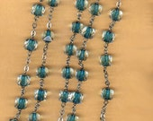 vintage rosary beads brass cross tin cut sommerso crystal LONG rosary with turquoise color sommerso beads ALMOST two feet long