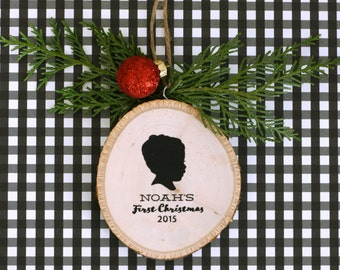 Silhouette Custom Christmas Ornament of Wood -  made with YOUR OWN Silhouettes -