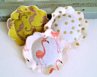 flamingo lavender sachet trio set, tropical sachet set, flower shape sachets, bird lavender sachets, 3 fabric scrap flower sachets- Set F