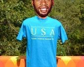 vintage 80s t-shirt USA superstar invitational basketball camp neon tee Medium Large teal