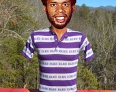 vintage 70s t-shirt striped ELKS henley preppy stripe polo tee Small xs purple 60s
