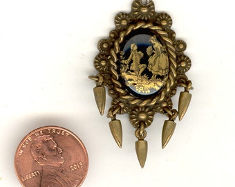 1 Vintage BANANA BOB 1-3/4 Inch Ornate Frame With Glass Decal Lovers Cameo & Brass Ox Dangles Pendant ST40