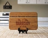 Personalized Cutting board, Custom Engraved Striped Bamboo, Kitchen Decor, Family Name, Housewarming Gift, Newlywed Gift --21129-CBBS-001