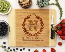 Personalized Cutting board, Olive Branch Wreath Cutting Board, Wreath Cutting Board, Custom Engraved Bamboo Wood --21036-CUTB-001
