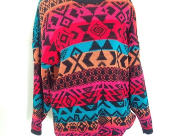 Vintage Aztec Sweater, Vintage Bright Sweater
