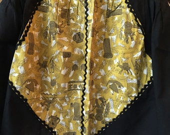Vintage Black and Gold Apron with Rick Rack Trim - Unique and Fun