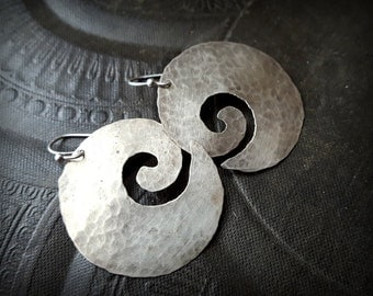Sterling Silver Hoops, Sterling Swirls, Artisan Made, Unique, Organic, Primitive, Recycled, Beaded Earrings
