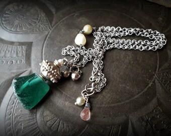 Ancient Roman Glass, Kuchi, Banjara, Vintage, Chain, Pearls, Amulet, Talisman, Chain Beaded Necklace