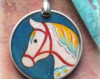 White and Teal Dala Horse Pendant Scandinavian Style