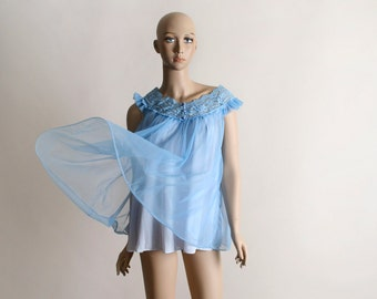 Vintage Chiffon Nightie - Babydoll Blue Sheer Mini Nightgown Negliee