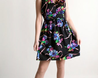 Vintage 1970s Mini Floral Dress - Dark Neon Flower Print Dolly Dress - Large