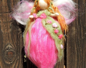 Needle felted Sweet Floral Fairy -  Waldorf inspired By Rebecca Varon