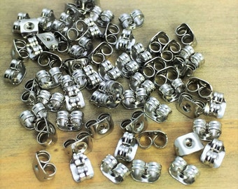 Stainless Steel Earnut Backs - 6mm x 4mm - Sensitive Ears - No Tarnish - Ships From USA - Patina Queen