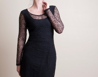 Black Fishnet Dress with Long sleeves-Made to Order