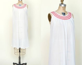 1960s Nightgown --- Vintage White Swiss Dot Lingerie