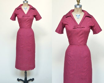 1960s Red Day Dress --- Vintage Cotton Dress