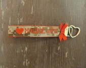 Military Wristlet, Marine Wife Name Tape Key Chain, US Marine Corps Wife Military Keychain, Marine Wife Key Fob