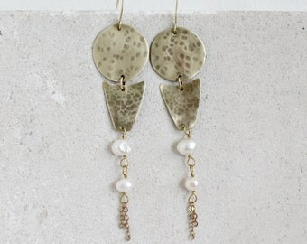 Tribal statement earrings, brass and white freshwater pearls, aztec long earrings