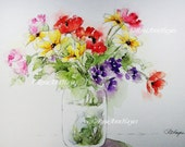 Watercolor Painting Bouquet of Flowers Floral Print Garden Wildflowers Daisies Poppies Carnations Forget-Me-Nots