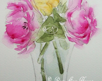 Roses Original Watercolor Painting Floral Bouquet Garden Flowers Wildflowers