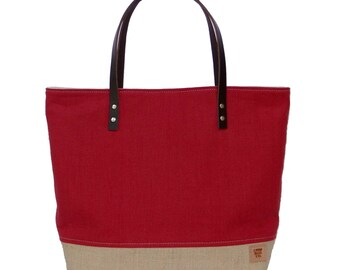 Summer Bag, Red Market Tote Bag, Linen Tote, Resort Tote, Beach Bag, Linen Burlap Bag, Cruise Bag, Resort Bag, Burlap Bag