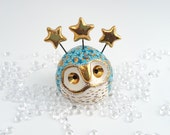 Ceramic Fairy Owl Sculpture Blue with Gold Stars