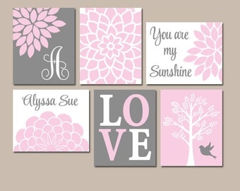 PINK GRAY Nursery Wall Art, CANVAS or Prints, Baby Girl Nursery Artwork, Personalized Girl Pictures, Sunshine Set of 6 Above Crib Pictures