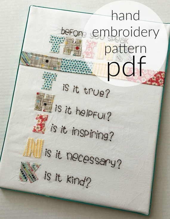 Hand embroidery pattern think before speak digital