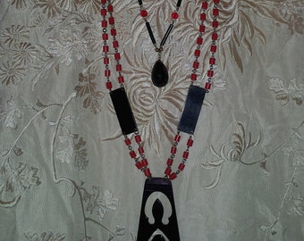 2 Antique Art Deco Red Black Flapper Jewelry Celluloid Glass Pendant Necklaces