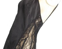 victoria's secret silk nightgown negligee vintage lace charmeuse silky soft fluid sexy sheer peek a boo side sz small s old hollywood charm