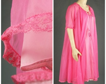 vanity fair nightgown sheer peignoir chiffon babydoll vintage pink nylon silky tricot 60s lingerie double layer mod nightie small s trapeze