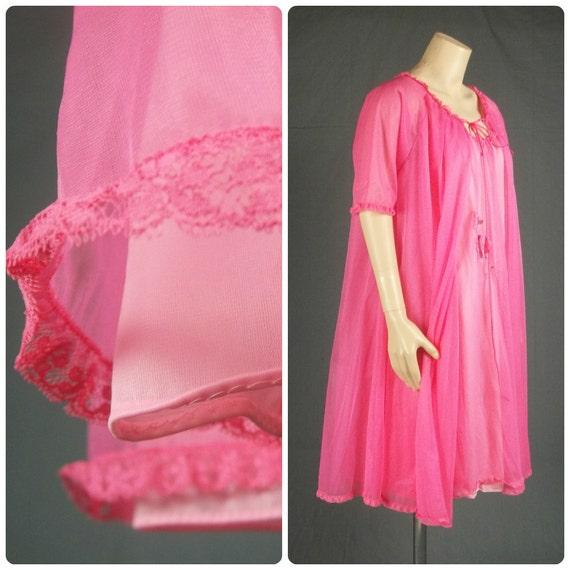 Vanity Fair Nightgown Sheer Peignoir Chiffon Babydoll Vintage