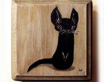 Black Cat Painting - Original Animal Wall Art Acrylic Miniature Painting on Wood by Karen Watkins 4x4 Inches - Black Kitty Cat Art