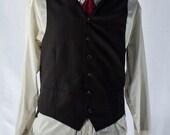 Men's Suit Vest 38 / Vintage Black Pinstripe Waistcoat / Size 36/38 Medium  #2096