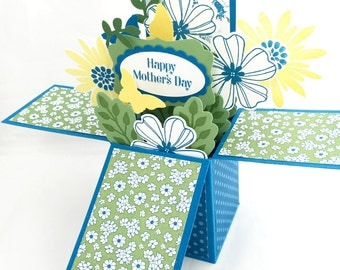 Mother's Day Pop Up Card - Mothers Day Card in a Box - Special Mothers Day Card - Unique Mothers Day Card, Blue Yellow 3D Floral Bouquet